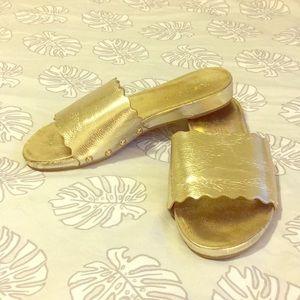 Women's gold slide sandal